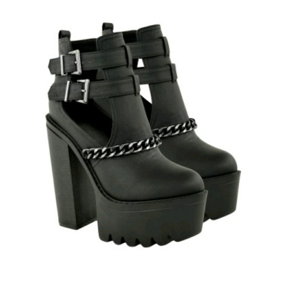 4148f0e8a58d Hazal Black Cleated Sole Double Buckle Boot